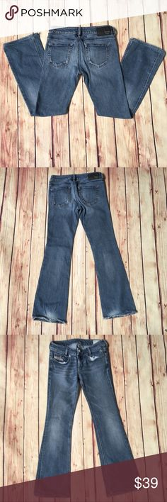 DIESEL Louvely Fit Distressed Jeans Wash 008LA These Diesel Jeans are the Louvely Cut distressed stretch in 008LA wash . Double button waistband. Slim cut. 99% cotton/1% elastane. Made in Morocco 🇲🇦   Waist measures 26, tagged 29, refer to detailed measurements! These run slim, as Diesel Jeans do. Measurements are approximate: - 13 inches across waist  - 30 inch inseam  - 8 inch rise  - 17 inches across hips - 8.5 inches across leg opening   Factory distressed. Cuffs have a lot of wear…