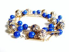 Vintage Blue Bead Long Necklace Gold by PrettyShinyThings4U, $12.00