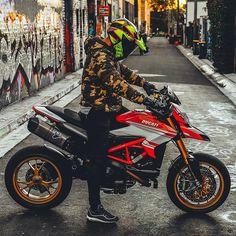 Ducati Hypermotard streetbike bikers motorcycle motolife sportbike rider moto extreme bikerworld ins Moto Ducati, Ducati Motorbike, Motorcycle Dirt Bike, Futuristic Motorcycle, Dirt Biking, Motorcycle Quotes, Triumph Motorcycles, Custom Motorcycles, Supermoto Racing