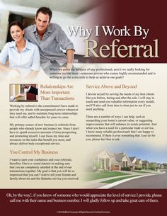 Why We Work by Referral  by Buffini & Company