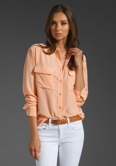 saving for a reminder...Coral Silk short sleeve shirt over white Coldwater Creek lace bottom tank w/white jeans brown sandals and white and brown handbag....