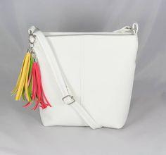 kabelka Sandra biela - farebné strapce