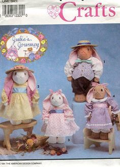 Simplicity 7745 Julie's Journey Easter Bunny Rabbit Doll Family 1992 Sewing Pattern FREE US SHIP by LanetzLivingPatterns on Etsy