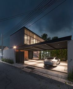 corona render Exterior in Corona render - corona Carport Designs, Garage Design, Exterior Design, House Design, Exterior Rendering, Modern House Facades, Modern Architecture House, Architecture Design, 3d Architectural Visualization