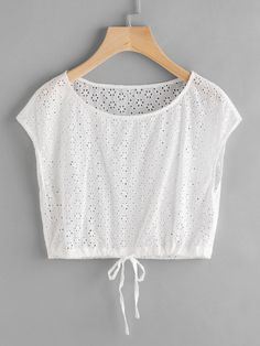 SheIn offers Drawstring Hem Eyelet Embroidered Crop Top & more to fit your fashionable needs. Teen Fashion Outfits, Fashion Tips For Women, Girl Fashion, Casual Outfits, Fashion Dresses, Cute Outfits, Crop Top Designs, Blouse Designs, Diy Couture Haut