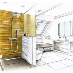 #agrobbuchtal #axor #duravit #wedi Interior Architecture Drawing, Interior Design Sketches, Interior Rendering, Interior Exterior, Interior Paint, Architecture Design, Classical Architecture, House Sketch, Moleskine