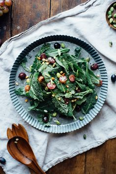 Warm Sautéed Grapes, Autumn Kale, and Edamame Salad with Shiso Vinaigrette: Try choosing honey over brown sugar or maple syrup for a #vegan option. #glutenfree