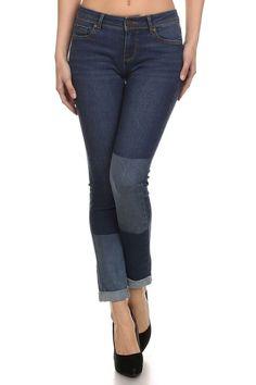 Enjean Women's Two-Tone Skinny Jeans w/ Cuffed Hem, Medium Wash (0)
