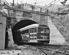 (1955) Metropolitan Coach Lines No. 5010 at the mouth of the Pacific Electric subway on one final excursion on the Glendale-Burbank Line after the end of regular service on June 19th.