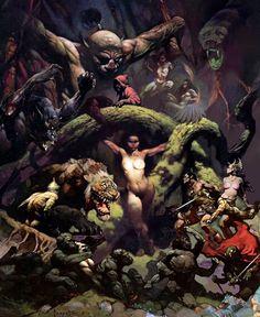 Fantasy Comics, Fantasy Rpg, Dark Fantasy Art, Fantasy Artwork, Frank Frazetta, Arte Horror, Horror Art, Illustrations, Illustration Art