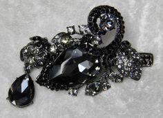 Elegant Black Austrian Crystal & Set by WatermarkHairJewelry