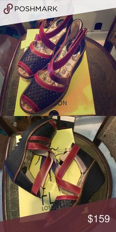 Fly London Ynes Fly London Ynes a criss cross Wedge in black and red beautiful leather Fly London Shoes Wedges