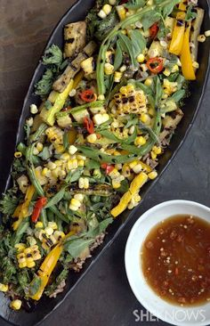 Grilled vegetable salad with Asian vinaigrette  Healthy and fresh side dish Get your daily serving of vegetables in one dish with this grilled veggie salad with Asian fish sauce vinaigrette