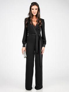 5afd399520f Carla by Rozarancio Black Surplice Sash Tie Jumpsuit - Women