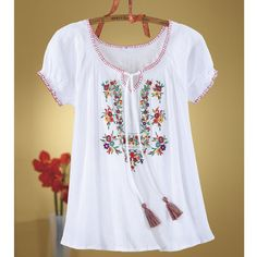 Floral Embroidered Peasant Top - Women's Clothing, Jewelry, Fashion Accessories & Gifts for Women with a Flair of the Outdoors | NorthStyle…