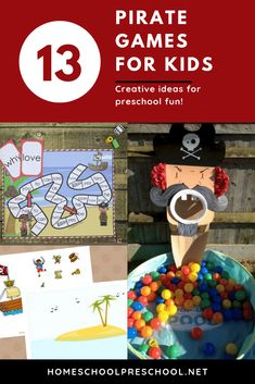 These pirate games for preschoolers are perfect for home and school. Add them to your upcoming pirate theme, or play them at a pirate birthday party! Pirate Games For Kids, Preschool Pirate Theme, Pirate Party Games, Preschool Birthday, Pirate Activities, Preschool Games, Craft Activities For Kids, Crafts For Kids, Pirates For Kids