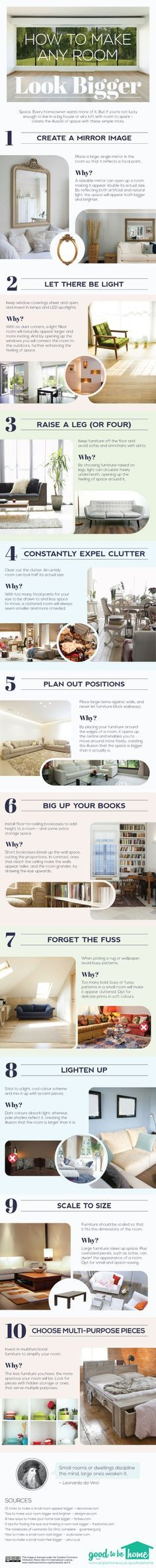 44. How to Make Any Room Look Bigger - 50 Amazingly Clever Cheat Sheets To Simplify Home Decorating Projects