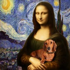 Starry Night: Mona Lisa with Dachshund Dachshund Funny, Dachshund Art, Dachshund Puppies, Daschund, Mona Lisa, I Love Dogs, Cute Dogs, Delphine, Weenie Dogs