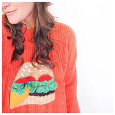yup, a sweater / jumper with a giant knit cheeseburger on it! For all you cheeseburger lovers out there that want it on your plate and in your fashion! What I Wore, Drawstring Backpack, Yup, Jumper, Plate, Lovers, Plus Size, Knitting, My Style