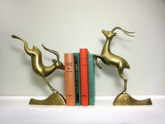 Brass Antelope Bookends Large Metal Impala Book by saltandginger