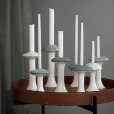 Create atmospheric, decorative light with these unique Ahlmann candle holders, inspired by the abundance of beautiful, decorative mushrooms in the forest. Their simple, graphic idiom is combined with beautiful grey glazes. Combine with the other green sha Scandinavian Candle Holders, Modern Candle Holders, Ceramic Candle Holders, Shops, Ceramics Projects, Scandinavian Design, Home Accessories, Stuffed Mushrooms, Candles