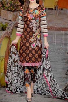 Buy Chocolate Brown Embroidered Cotton Lawn Dress by Combinations 2016 Pakistani Outfits, Indian Outfits, Designer Collection, Dress Collection, Mina Hasan, Lawn Suits, Shalwar Kameez, Indian Clothes, Chocolate Brown