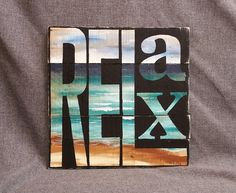 Beach Relax Pallet wall art decor, hand painted word sign, reclaimed wood, Distressed beach, handmade, hand painted, gift