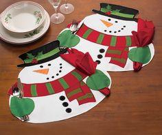 Bellos individuales para la mesa Navideña en forma de muñeco de nieve #table #christmas #decoration