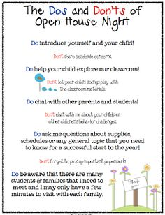 "FREE MISC. LESSON - ""Dos and Don'ts of Open House Parent to Teacher Info Sheet FREEBIE"" - Go to The Best of Teacher Entrepreneurs for this and hundreds of free lessons. #FreeLesson    #TeachersPayTeachers   #TPT   http://thebestofteacherentrepreneurs.blogspot.com/2012/08/free-misc-lesson-dos-and-donts-of-open.html"