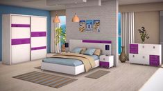 Dormitor modern, compus din dulap in 2 usi culisante, pat pentru saltea de 160x200 cm, comoda si 2 noptiere. Toddler Bed, Neon, Furniture, Home Decor, Child Bed, Decoration Home, Room Decor, Neon Colors, Home Furnishings
