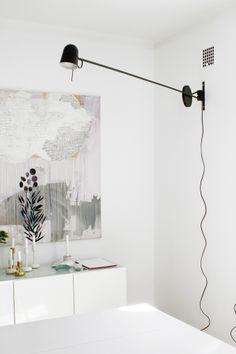 black, white, soft tones   Nappula candleholders: IIttala, painting: Siiri Pohjolainen, lamp:  Counterbalance, Luceplan   Styling: Susanna Vento for Arla