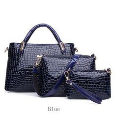 Women Crocodile Handbags Ladies Crossbody Bags Clutches 3Pcs