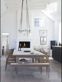 Contemporary Dining Room With A Farmhouse Feel   High White Walls In An  Elegant Old Home Part 72