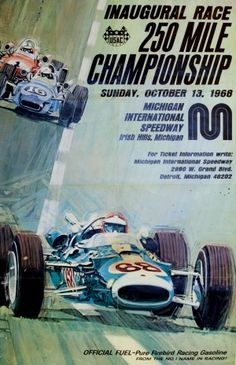 USAC Inaugural Race Michigan, 1968 - original vintage poster by Van Voorhis listed on AntikBar.co.uk