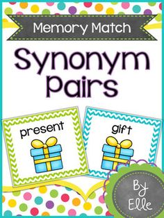 Synonym Pairs Memory Match Language Arts Mini-Center!This fun and colorful memory match card game will help your students practice matching synonym pairs in an engaging way! Students use picture cues to read and define synonyms, then match them to another word with the same meaning.