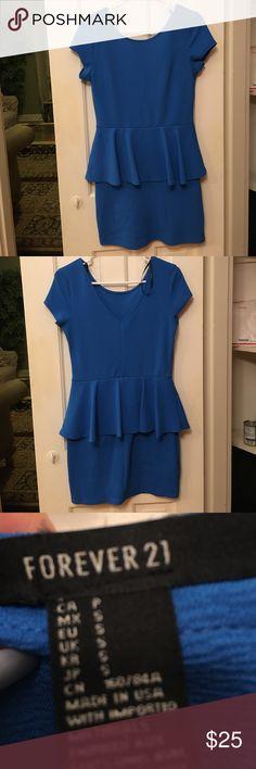 *FIRM* - Forever 21 Blue Peplum Dress. Size Small Forever 21 Blue Peplum Dress. Size Small. Used, minor wear and tear. Ships same or next day!  I 💓 bundles Forever 21 Dresses Mini