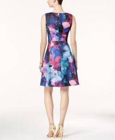 Ellen Tracy Printed Scuba Fit & Flare Dress - Blue 10
