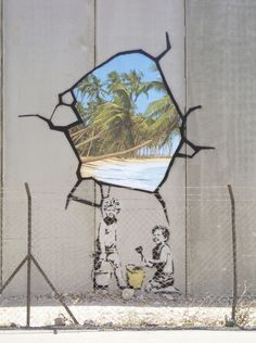 """Banksy was Here: The Invisible Man of Graffiti Art"" by Lauren Collins. A Banksy trompe-l'oeil painting on a security fence in the West Bank."