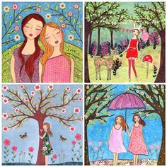 """fresh and bright. i like this artist:  Whimsical Art Mixed Media Girls Painting Friendship Nature and Woodland Animals Art Print Set Four 5"""" by 5"""" Prints. $14.99, via Etsy."""
