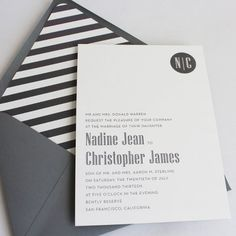 These graphic lines are adorable for a Gatsby themed wedding! Invitation Designs We Love, Wedding Invitations Photos by Papela