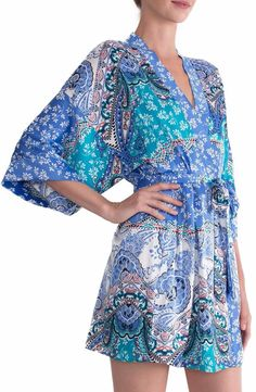IN BLOOM BY JONQUIL PRINT ROBE CORNFLOWER BLUE IVORY  59 - PICK UP OR SHIPS  FREE WORLDWIDE! BET PRICE GUARANTEE - MAJOR CREDIT CARDS ACCEPTED - SHOP  OUR SSL ... b7442e476