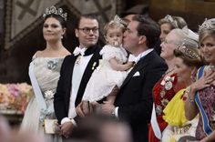 MyRoyals:  Wedding of Prince Carl Philip of Sweden and Sofia Hellqvist, June 13, 2015-Crown Princess Victoria, Prince Daniel, Chris O'Neill holding Princess Leonore, Queen Margrethe, Queen Sonja, Queen Maxima