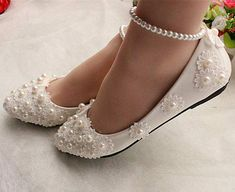 White lace Wedding shoes pearls ankle trap Bridal flats low high heels size in Clothing, Shoes & Accessories, Wedding & Formal Occasion, Bridal Shoes White Wedding Shoes, Wedding Flats, Wedding Slippers, White Lace Shoes, White Sandals, Wedding Jewelry, Wedding Rings, Bridal Flats, Prom Shoes