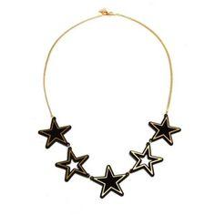 Black Gold Stars Necklace