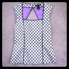 WHBM Corset Top Black and white corset top from WHBM.  Square neckline.  Zipper back with buttons up at the neck due to the stylish cut out back. White House Black Market Tops