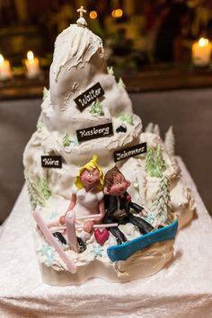 A wonderful groom's ski mountain cake for Johannes Walter's wedding in Grünau im Almtal. Cake by Café-Konditorei Goellinger. Ready for his first steps on the slippery wedding slope!