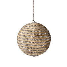 Set of Four Medium Gold Crystal Yarn Ball Ornaments