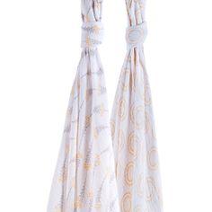 Swaddle Blanket- Premium Muslin in Wildflower + Halo prints- by Bebe au Lait