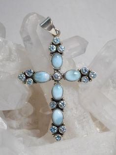 Larimar and Blue Topaz Jewelled Cross