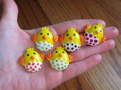 Enamel Polka Dotted Easter Egg Chick Resin Embellishment Cabochons | evezbeadz - Craft Supplies on ArtFire